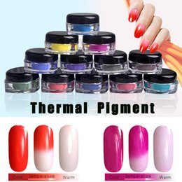Wholesale Dust Powder Pigment - New Nail Giltter Thermochromic 1g Pigment Thermal Color Change Nail Powder Dust Tempature Gradient Nail Decoration Powders 2017