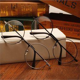 Wholesale Eyeglass Frames For Girls - Women Vintage Glasses Frame Plain Mirror Big Round Metal Optical Frame For Girl Eyeglass Clear Lens oculos feminino de grau AL-2