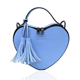 Wholesale Heart Shaped Red Handbag - Wholesale-Simple Design Women Small Heart Shaped Handbags Female Shoulder Bag Candy Color Tassel Hand Bags Women's Crossbody Bags HB-90