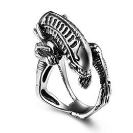 Wholesale Alien Rings - Stainless Steel punk Ring for men Biker Skull ring Classic Alien ring