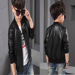 Wholesale Jacket Black Couro - 2017 Infant leather jacket PU Jaqueta de couro infantil Infant overcoat Boys Kids leather jacket Sobretudo infantil casacos Kids