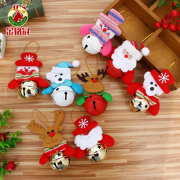 Wholesale Iron Xmas Tree - 16pcs lot Christmas Tree Bell Ornaments Santa Claus Snowman Elk Doll Bells for Xmas Home Party Enfeite De Natal Navidad Kids Gift