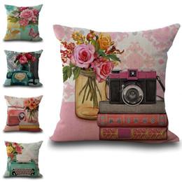 Wholesale Telephone Cases - Retro Telephone Flower Rose Pattern Throw Pillow Cases Cushion Cover Pillowcase Linen Cotton Square Pillow Case Pillowslip Home Decor 240525