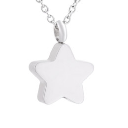 Wholesale Cheap Heart Shaped Necklaces - IJD9829 cheap shiny silver star shape cremation jewelry for ashes memorial loved one hair ash urn necklace