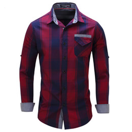 Wholesale Check Shirt New Style - Wholesale- New Arrival Men's shirt Long Sleeve Plaid Shirts 2017 Mens Dress Shirt Brand Casual Denim Style Checks Shirts europe size 2xl
