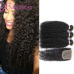 Wholesale Good Virgin Curly Weave - Unprocessed Good Quality Brazilian Curly Virgin Hair Weave 3Bundles with 1piece Lace Closure 4x4inch
