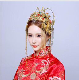 Wholesale Tiles Keys - Bride costume tiles Cui Xia Chinese wedding hair accessories wedding accessories