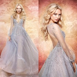 Wholesale Star Bead Caps - Jlm Couture 2017 Blue Moon Wedding Dresses Sprinkled Star Embellishment Sequined Backless Long Sleeve Deep V Neck Bridal Gowns