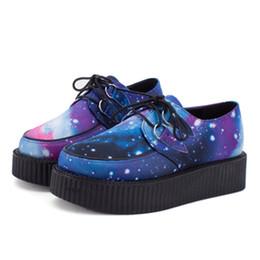 Wholesale Creeper Shoes Printed - Size 35~40 HARAJUKU VIVI ZIPPER color block galaxy blue flat creepers platform shoes for woman casual women punk creeper for girl students