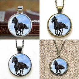 Wholesale Necklace Fur - 10pcs Horse large animal that Handsome appearance with black fur Necklace keyring bookmark cufflink earring bracelet