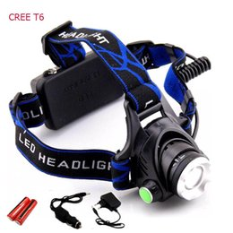 Wholesale Xml T6 Led Flashlight - Rechargeable CREE XML T6 5000Lumens Zoom Head Lamp torch LED Headlamp + 18650 Battery Headlight Flashlight Lantern night fishing