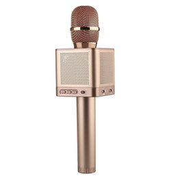 Wholesale Wireless Free Android Smartphone - ITUF Original Q10S Wireless Handheld Microphone Bluetooth Karaoke KTV For Android IOS Smartphone PC Free Carry Bag Rose Gold free shipping