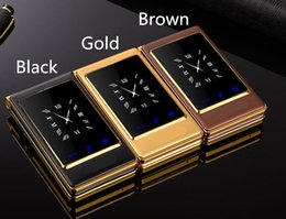 Wholesale Dual Sim Mobile Cell Phone - 2017 new arrival quad band luxury flip cell phone unlocked with double screen big keyboard gold mobile phone