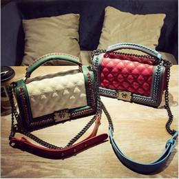 Wholesale Vintage Crochet Bag - 2017 New Fashion diamond lattice chain womens handbag crossbody bag tote single shoulder bag vintage style