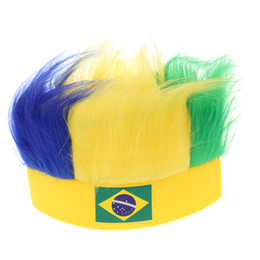 Wholesale World Cup Soccer Caps - Wholesale- ANSELF Muti Country Flag Football Soccer Fans Wig Head Cap European Cup World Cup Sports Carnival Festival Cosplay Costume
