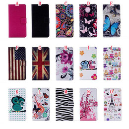 Wholesale flag pouch - Flower Owl Wallet Leather Pouch case For Iphone 7 PLUS 7plus Iphone7 Card Stand Butterfly Eiffel Tower Flag Litchi Cartoon Zebra Cover 50pcs
