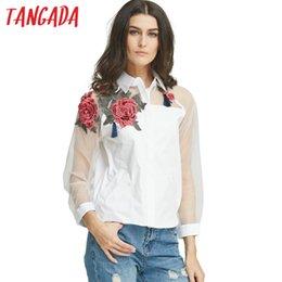 Wholesale Income Short - Tangada Fashion Women Elegant Organza Embroidery Tassel Blouse income Turn-down Collar Long Sleeve Shirt Casual Brand Tops
