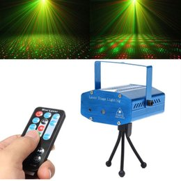 Wholesale Christmas Mini Laser Projector - Mini LED Laser Stage lighting Projector Light With Green Red Laser Has Tripd For Christmas Xmas Gift Party Disco Dance Bar DJ