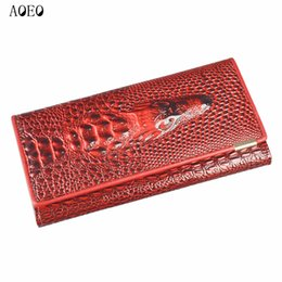 Wholesale Interior Alligator Crocodile - Wristlet Three Fold Wallet Female 3D Crocodile Purse Alligator Coin purse Women Wallets Lock Split Leather Long Clamp for Money
