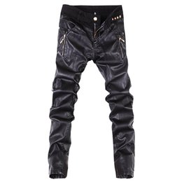 Wholesale Leather Pants 36 - Wholesale-New arrivals fashion men casual pants slim fit skinny leather jeans trousers 28-36 B104