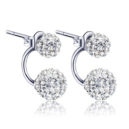 Wholesale Earings Diamond Silver - High quality Double sided Shambala Ball Stud Earrings Diamond Crystal disco beads Earings 925 Silver plated fine Jewelry for women girls