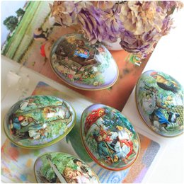 Wholesale Bunny Tin - Small Size Tin Easter Eggs Shaped Candy Box Tinplate Case Easter Bunny Chick Printing Alloy Metal Trinket Party Favor
