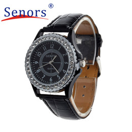 Wholesale Leather Bangle Bracelet Wrist Watch - Wholesale- Essential Wristwatch Bangle Bracelet Watches Women Leather Crystal Dial Lady Wrist Watch Bracelet Quartz Hour Sep29