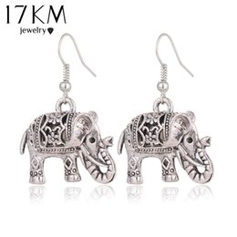 Wholesale Unique Elephant Gifts - 17KM Unique Tibetan Hollow Carved Elephant Drop Earring Fashion Vintage Silver Color Dangle Earrings For Women Party Jewelry