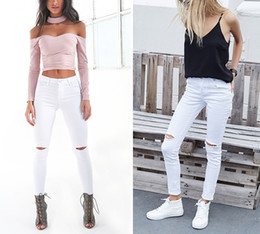Wholesale Black Denim Jeggings - 2017022537 Summer style white hole ripped jeans Women jeggings cool denim high waist pants capris Female skinny black casual jeans