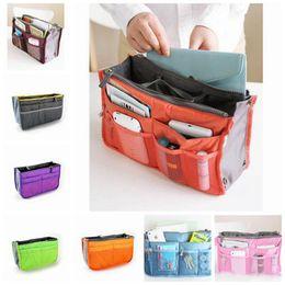 Wholesale Cheap Black Makeup Bag - Cheap Cosmetic Bag in Bag Double Zipper Portable Multi function Women Travel Pockets Handbag Storage Fadish Travel Organizer Makeup Bag