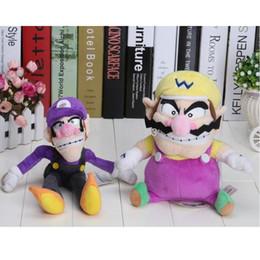 Wholesale Waluigi Plush Doll - Wholesale-2pcs set Super Mario Bros Plush Toy Doll Soft Stuffed Wario Waluigi Dolls Free shipping