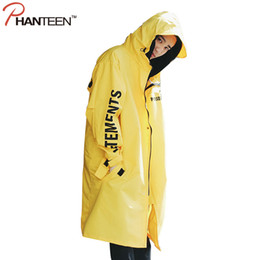 Мужчины для дождя куртку онлайн-Wholesale- Vetements Polizei Man Jackets Hooded Rain Coat Water-proof Sun Protection Trench Casual Hi-Street Fashion  Men Clothing