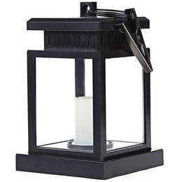 Wholesale Outdoor Lanterns For Candles - Wholesale-2016 Hot New Solar Powered LED Outdoor Candle Lantern Hang Lamp Novelty Portable Lantern for Camping Hiking Night Light