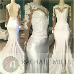 Wholesale Sexy White Fashion Dress - White Open Back Evening Gowns Sleeves 2017 Sexy Side Split Sheer Prom Gowns Long Formal Runway Fashion Dress Free Shipping