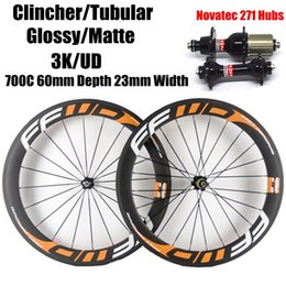 Wholesale Matte Decals - FFWD Orange Decals 60mm Depth 23mm Width Carbon Bike Wheels Matt Finish 3K Weave Clincher Tubular With Black Novatec 271 Hubs 20 24