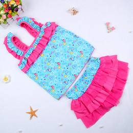 Wholesale Swimwear Baby Bikini Blue - Baby Girls Kids Tankini Bikini Suit Blue Color Floral Swimsuit Two-pieces Swimwear Bathing Suit 5 p l
