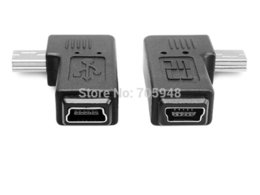 Wholesale Mini Usb Angled Cables - Wholesale- 1pair 90 degree right left angle mini 5pin USB B male to female plug connector adapters