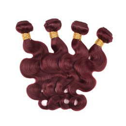 Wholesale Dark Wine Brown Hair - Brazilian Virgin Hair Weaves Bundles Wine Red 99J Brazilian Virgin Hair Body Wave Remy Human Hair Extensions Weft