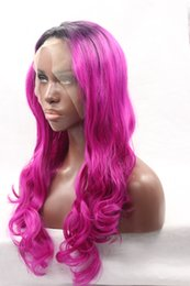 Wholesale High Heat Synthetic Wigs - High Quality Heat Resistant #1B Black Ombre Hair Natural Body Wave Lace Front Wig Cheap Synthetic Lace Front Wig For Black Women