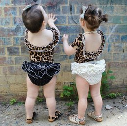 Wholesale Girl Leopard Sexy - Baby sets fashion INS summer toddler kids leopard grain sexy backless tops + polka dots bows tiered falbala skirt 2 pc clothing sets T3119