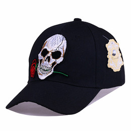 Wholesale Acrylic Head - Unisex Snapback Baseball Caps Women Embroidery Skull Head Red Rose Hat Monster Bone Casquette Hip Hop Snapback Cap