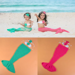 Wholesale Mermaid Crochet For Babies - Crochet Mermaid Infant BABY Photography Props Knitted Mermaid Princess Girl Photo Props Crochet Clothing Set for Girl