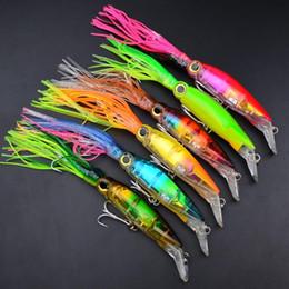Wholesale Soft Squid Trolling - M&X 5Pcs Lot Squid Lure Wobbler 13.5cm 45g 6 Colour Fishing Lures For Trolling Bionic Artificial Bait Minnow Free Shipping