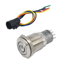 Wholesale locking 12v switch - Wholesale-Self-locking 16mm 12V Car Aluminum LED Power Metal Push Button Switch 6A 125VAC Latching Type + LED Switch Socket
