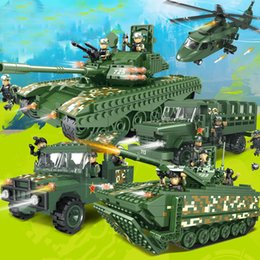 Wholesale Military Model Building - Children's plastic fight into the building blocks of military chariot Model toys Improve hands-on ability kids gift