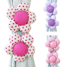 Wholesale Curtain Buckles - Curtain Buckle Cloth Lace Flower Curtain Banded Curtain Clamp Sunflower rose curtains tied to tie flowers