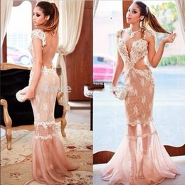 Wholesale Sex Long Gown - Sex See Through Blush Pink Arabic Prom Dresses 2017 Illusion Backless Lace Appliques Court Train Robe De Soiree Evening Occasion Gowns Cheap