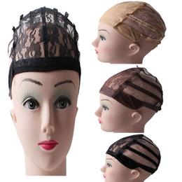 Parrucca marrone scuro a buon mercato online-Cappucci parrucca Glueless economici per fare parrucche con cinturino regolabile Nero Beige Marrone medio Marrone scuro Colore Taglia media