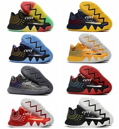 Wholesale Team Boots New - 2017 New Kyrie Irving 4 Basketball Shoes for Cheap Sale Sneakers Sports Mens Shoe Wolf Grey Team Red Outdoor Trainers Basket Ball Boots
