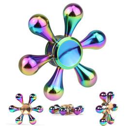 Wholesale Copper Desk - Rainbow Copper hand spinner fidget hybird bearing EDC Finger Desk toy For Gyro free shipping DHL